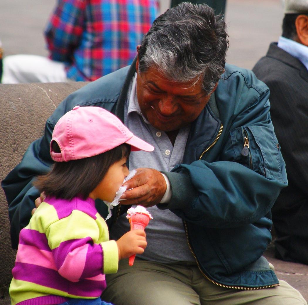Eating Ice Cream in Quito, Ecuador