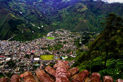 Aerial View of the City of Banos, Ecuador.