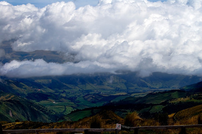 Low Hanging Clouds Over Quito's Farming Fields.