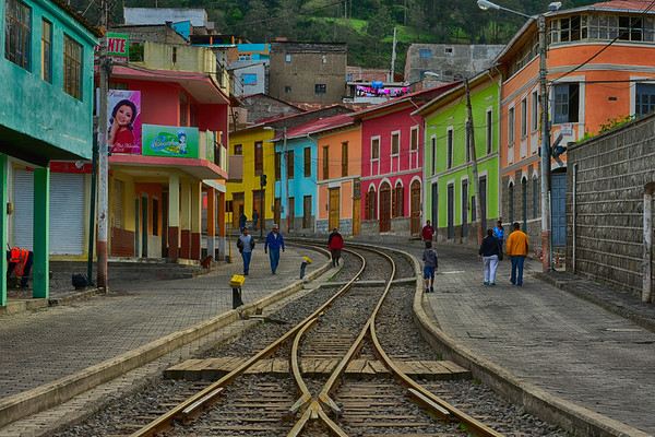Train tracks and colorful buildings -cropped