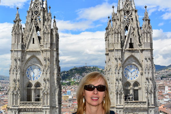 Peggy between towers of church