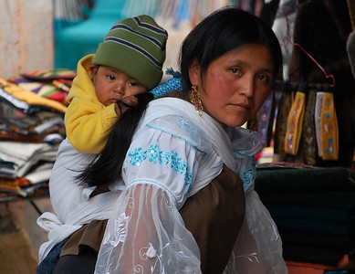 Mother and Son in Otavalo Market, Ecuador.