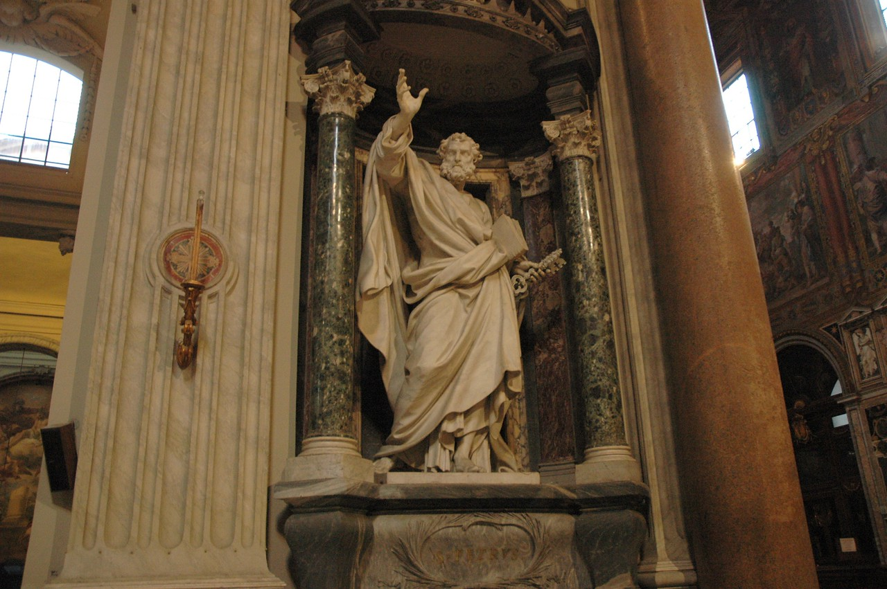Statues of the apostles are displayed in many Roman basilicas.  This is a statue of St. Peter.