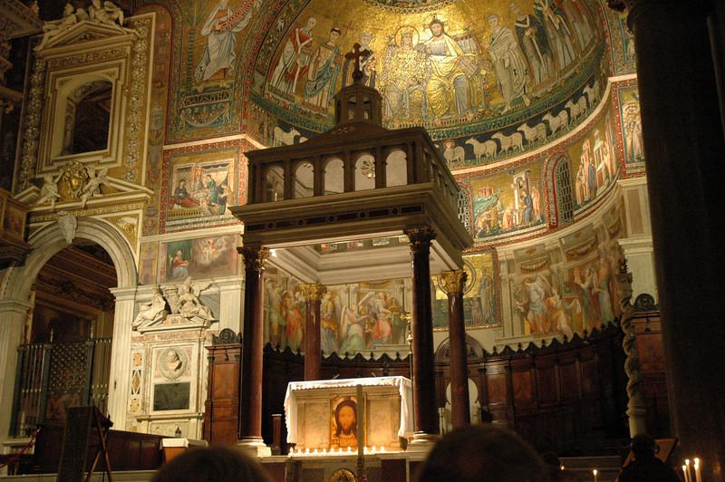 The Community of Sant'Egidio, Rome, prays each evening in Santa Maria Trastevere, Rome.