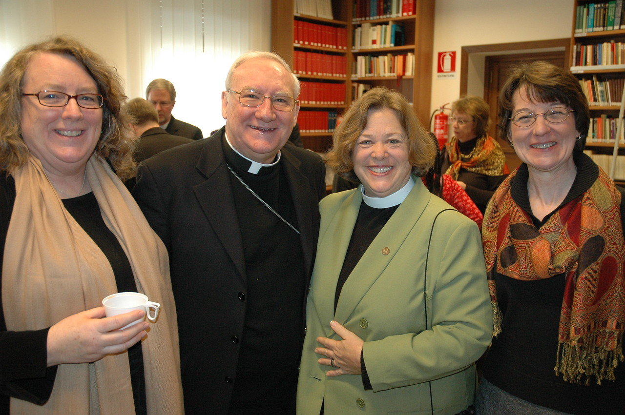 Three members of the ELCA delegation with Bishop Brian Farrell, second from left, secretary, Pontifical Council for Promoting Christian Unity -- from left, Deborah Chenoweth, Hood River, Ore., ELCA Church Council; the Rev. Susan Langhauser, Olathe, Kan. ELCA Church Council; and Mitzi Budde, Virginia Theological Seminary, Alexandria, and Lutheran co-chair, Lutheran-Episcopal Coordinating Committee.