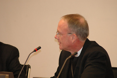 Bishop Michael Burk, ELCA Southeastern Iowa Synod, addresses Cardinal Kasper Feb. 12 in Rome.