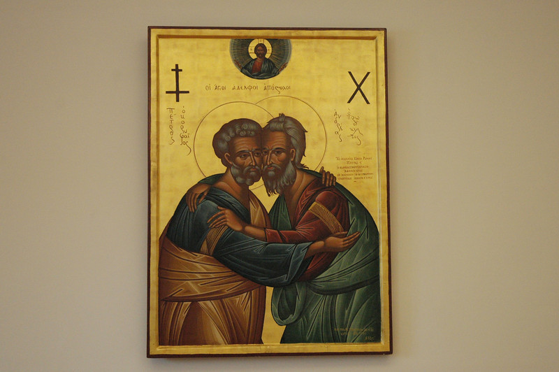 This icon, a 1964 gift to Pope Paul VI from the Eastern Orthodox Ecumenical Patriarch, hangs in the offices of the Pontifical Council for Promoting Christian Unity.  Cardinal Kasper said the icon depicts the council's work.