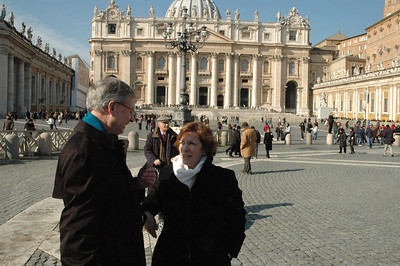 Bishop Rob Hofstad, left, ELCA Southwestern Washington Synod visits with Bishop Claire Burkat, ELCA Southeastern Pennsylvania Synod, outside St. Peter's Basilica, Vatican City.  The ELCA delegation toured the basilica Feb. 13.