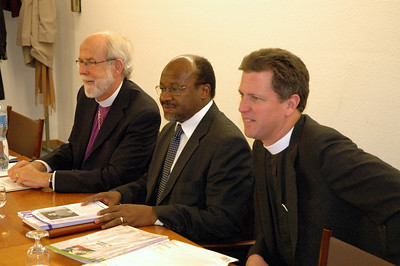 Three of the participants in discussions with the ELCA delegation Feb. 15 in Geneva were, from left, ELCA Presiding Bishop and Lutheran World Federation (LWF) President Mark Hanson; the Rev. Ishamel Noko, LWF general secretary; and the Rev. Steven Loy, Las Cruces, N.M., ELCA Church Council member.