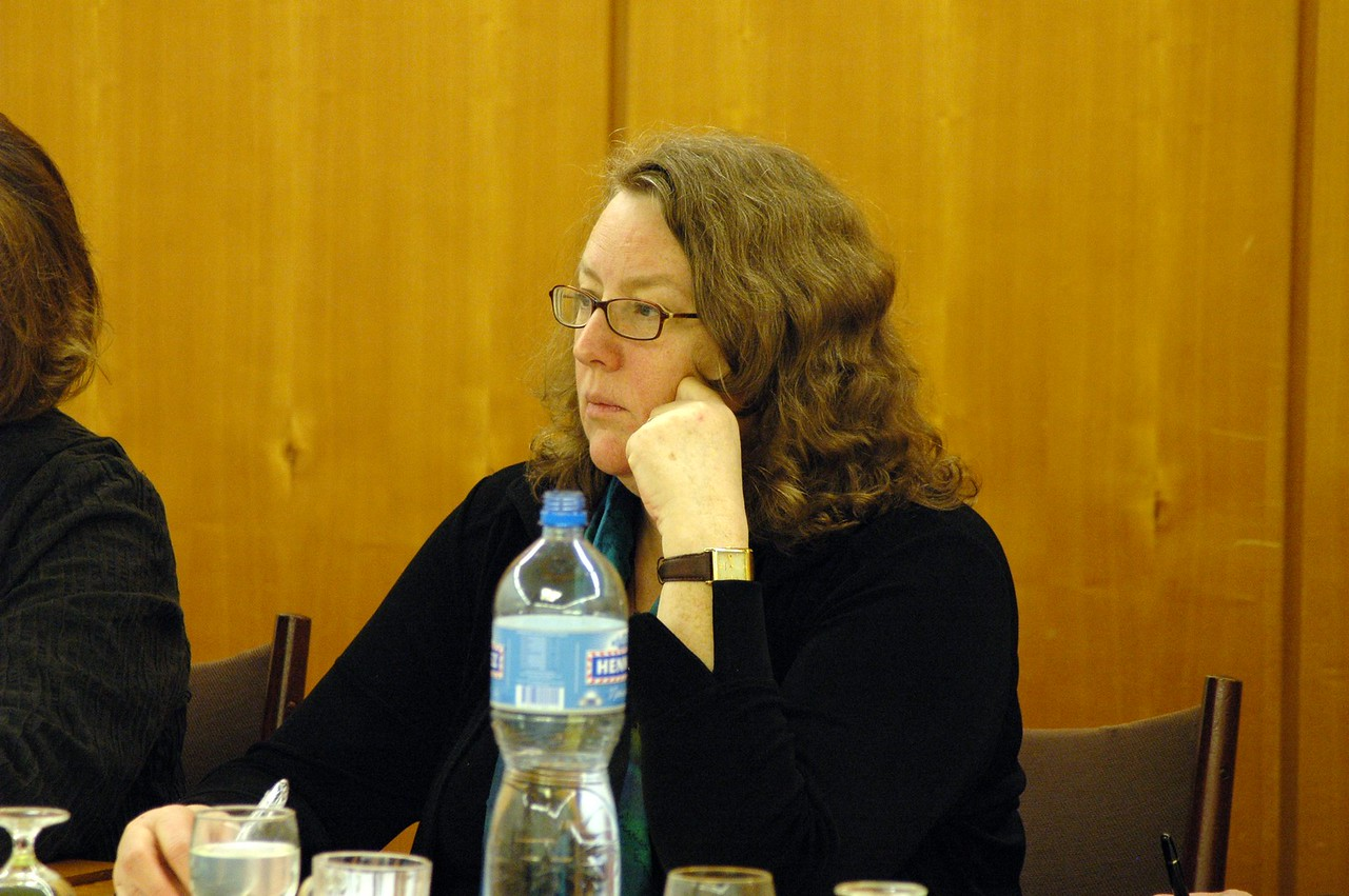 Deborah Chenoweth, Hood River, Ore., ELCA Church Council member, listens during discussion Feb. 15 with WCC officials in Geneva.