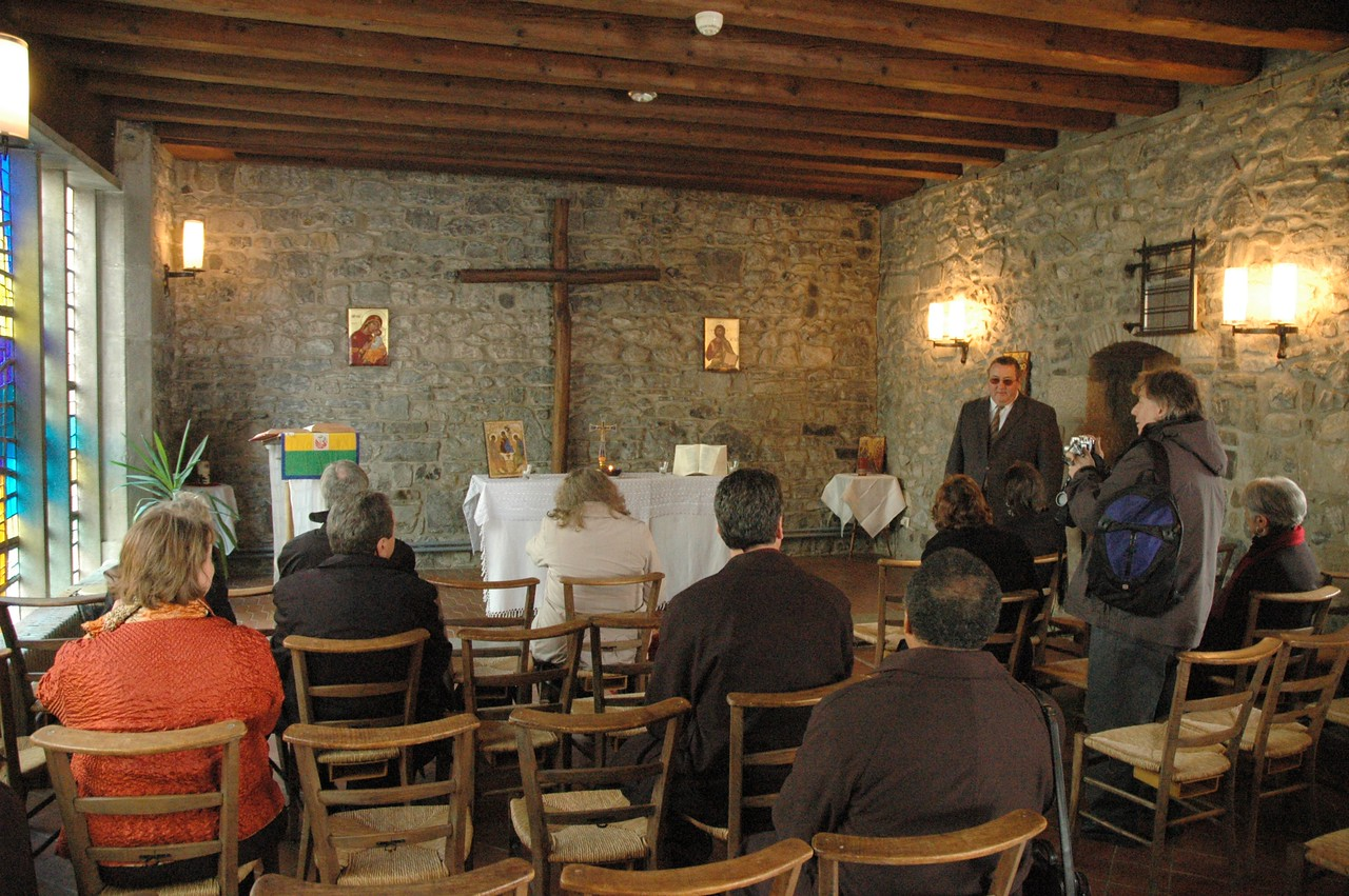 The ELCA delegation visited the WCC's Ecumenical Institute at Bossey (Switzerland).  Part of their tour included a visit to the chapel.