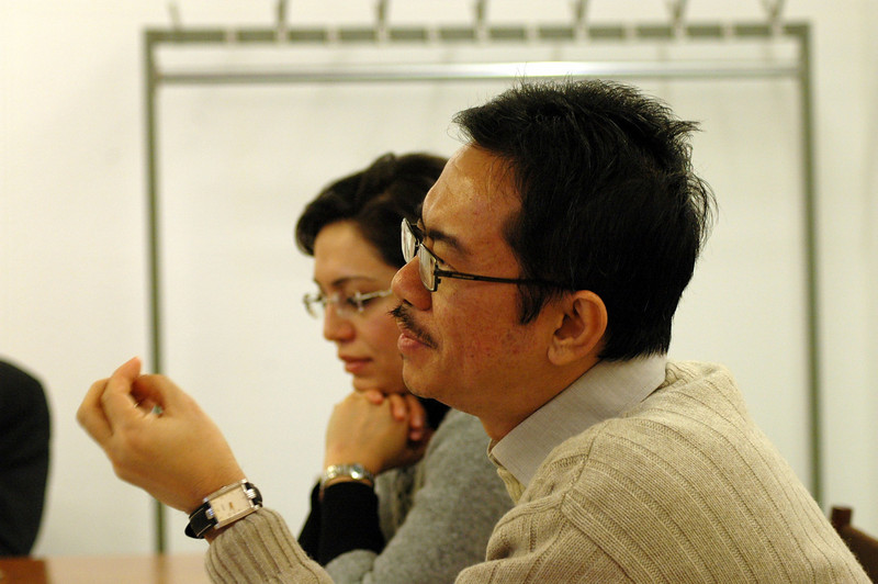 Martin Sinaga, the Lutheran World Federation, foreground, and Rima Barsoum, World Council of Churches, led a session on interfaith engagement Feb. 16 in Geneva.
