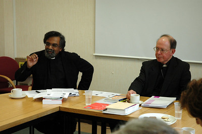 The Rev. Dr. Leslie Nathaniel, left, European secretary and deputy secretary for ecumenical affairs and the Rev. Dr. Paul Avis, general secretary, Council for Christian Unity, both with The Church of England, met with the ELCA delegation in Mondaon Feb. 5.