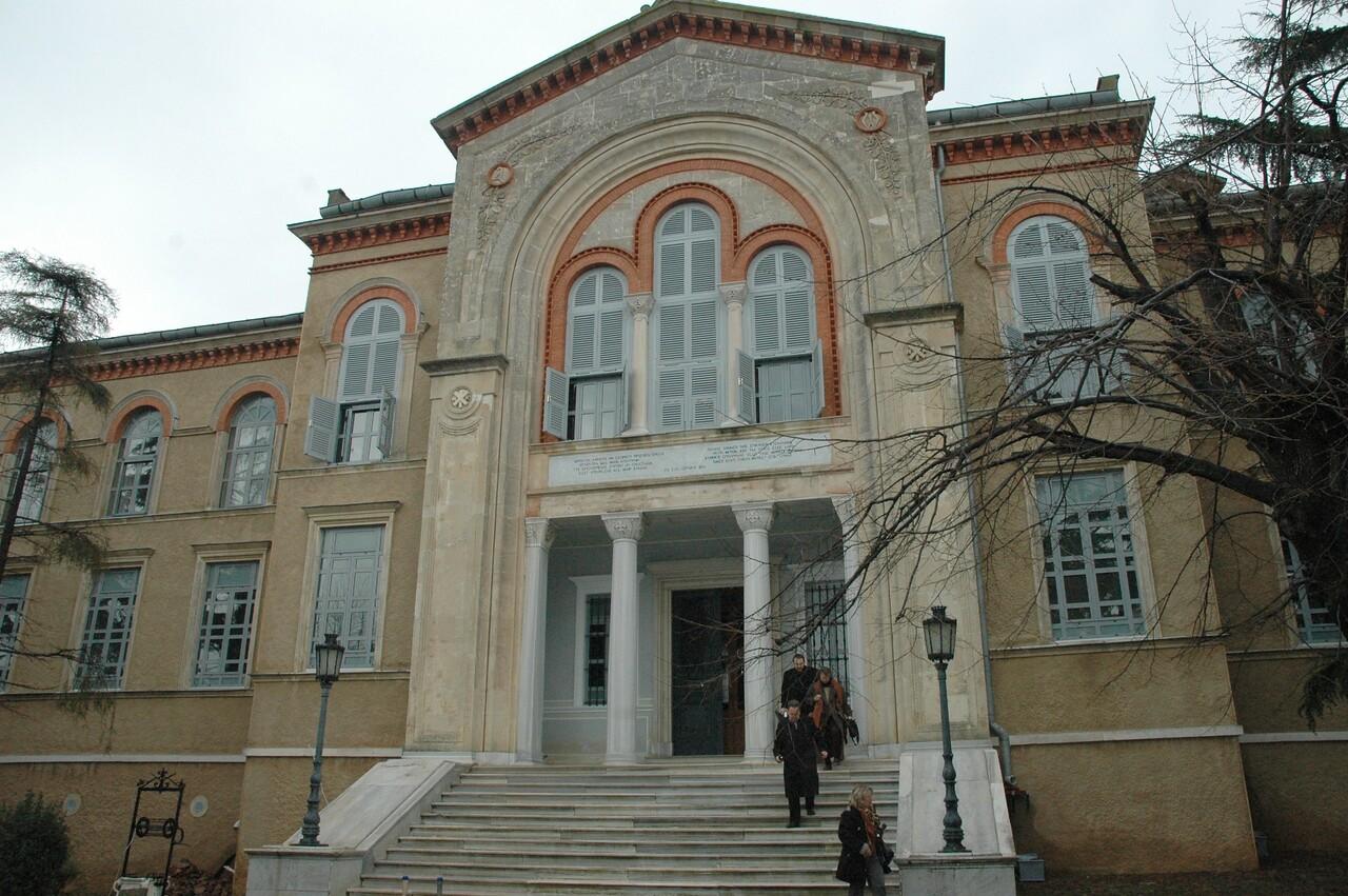 The main building of the Monastery of the Holy Trinity and Theological School, Halki island, Turkey.