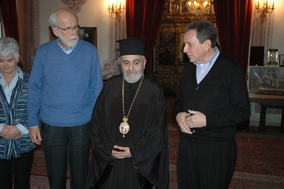 Hosting the ELCA delegation during its visit to the Theological School of Halki (Turkey), Feb. 7, was Metropolitan Apostolos, second from right.  With him, are, from left, Ione Hanson, ELCA President Bishop and LWF President mark Hanson and The Rev. Donald McCoid, executive, ELCA Ecumenical and Inter-Religious Relations.
