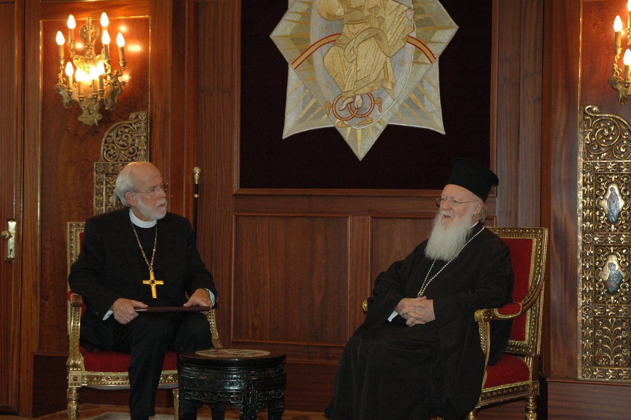 ELCA Presiding Bishop and LWF President Mark Hanson, left, listens as the Ecumenical Patriarch Bartholomew I speaks during a Feb. 8 meeting in Istanbul with ELCA clergy and lay leaders.