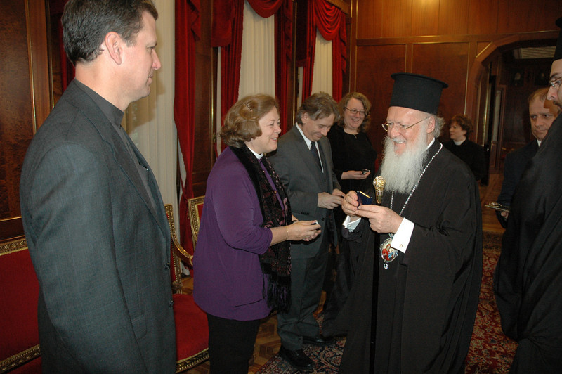The Ecumenical Patriarch Bartholomew I, right, presents gifts to members of an ELCA delegation who he met with Feb. in Istanbul.  ELCA clergy and lay leaders are, from left, the Rev. Steven Loy and the Rev. Susan Langhauser, ELCA Church Council; Dr. Rocky Piro, Lutheran Ecumenical Representatives Network; and Deborah Chenoweth, ELCA Church Council.