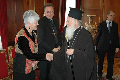 The Ecumenical Patriarch Bartholomew I, right, greets Ione Hanson, left, during a Feb. 8 meeting of ELCA representatives in Istanbul.  In the center is the Rev. Donald McCoid, executive, ELCA Ecumenical and Inter-Religious Relations.
