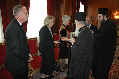 The Ecumenical Patriarch Bartholomew I presents a gift to Saundra McCoid, during a Feb. 8 meeting with an ELCA delegation of clergy and lay leaders in Istanbul.