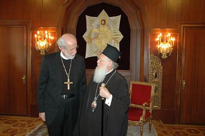 ELCA Presiding Bishop and LWF President Mark Hanson, left, greets the Ecumenical Patriarch Bartholomew I Feb. 8 in Istanbul.