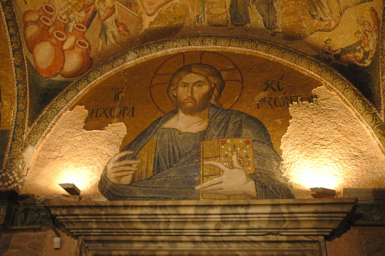 A restored mosaic of Jesus inside the Church of Chora, Istanbul.