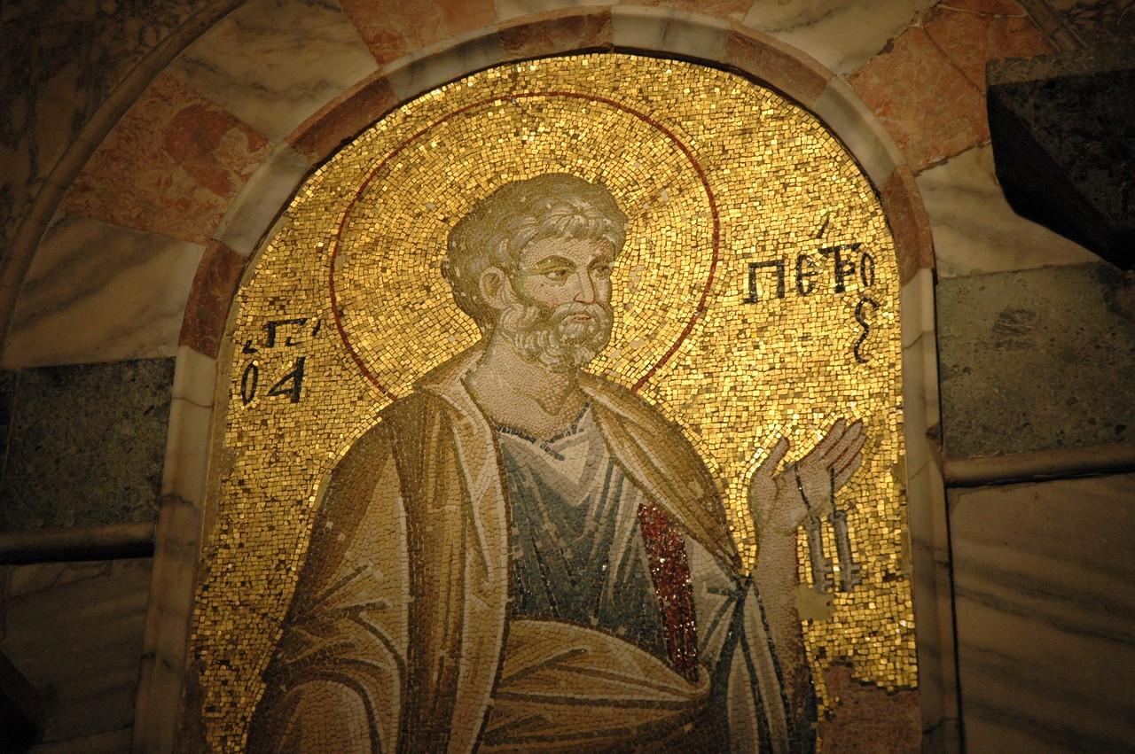A restored mosaic of the Apostle Peter inside the Church of Chora, Istanbul.
