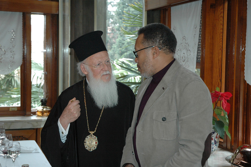 Bishop Callon Holloway, ELCA Southern Ohio Synod, right, speaks with the Ecumenical Patriarch Bartholomew I following a farewell luncheon the patriarch hosted for the ELCA delegation Feb. 9 in Istanbul.