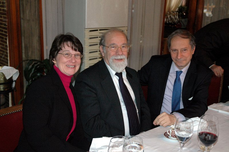 Mitzi Budde, a member of the 2010 ELCA Ecumenical Journey, Virginia Theological Seminary, Alexandria, with Orthodox Bishop Makarios of Lamsakos, Geneva, and Nikolaos Manginas, a journalist who works with the Ecumenical Patriarchate, Istanbul.  All three attended a farewell luncheon for the ELCA delegation in Istanbul Feb. 9.