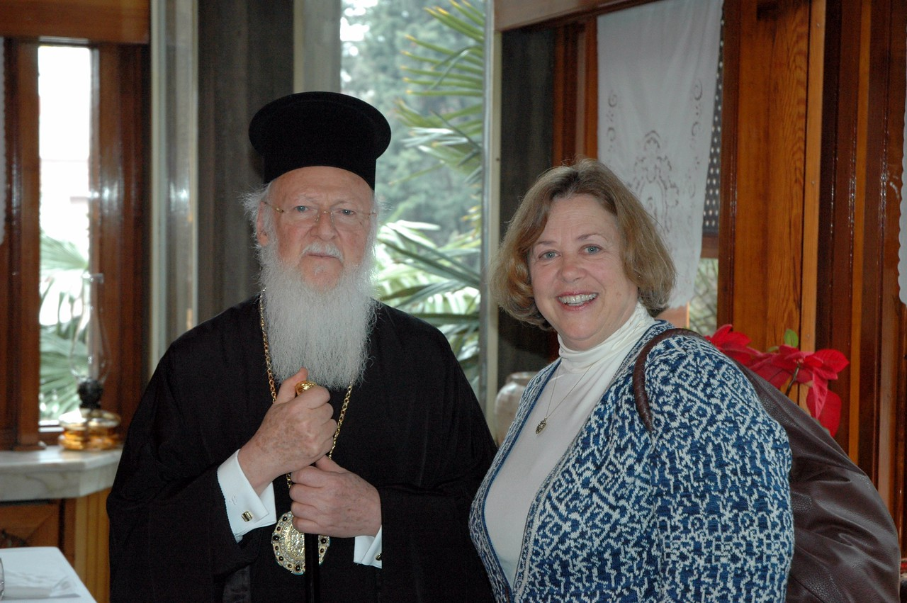 The Ecumenical Patriarch Bartholomew I, left, hosted a farewell luncheon for the ELCA delegation Feb. 9 in Istanbul.  With him is the Rev. Susan Langhauser, Olathe, Kan., a member of the ELCA Church Council and the delegation.