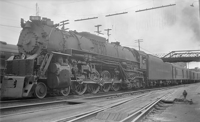 2018.15.N85.6384--ed wilkommen 116 neg--C&O--steam locomotive 4-8-4 610 on passenger train--Charlottesville VA--1951 0600