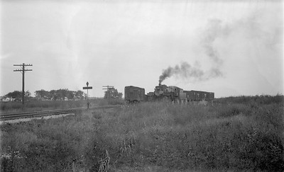 2018.15.N69.5538--ed wilkommen 116 neg--CB&Q--steam locomotive 2-8-2 O-1-A 4960 switching freight cars--location unknown--no date