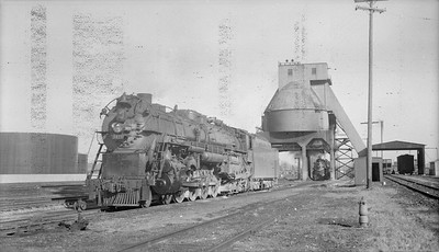 2018.15.N69.7498--ed wilkommen 116 neg--CB&Q--steam locomotive 4-8-4 O-5-A 5615 at coal chute--Galesburg IL--no date
