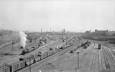 2018.15.N68F.4966--ed wilkommen 116 neg--CMStP&P--steam locomotive 2-6-2 K1as 943 switching in Muskego yard scene--Milwaukee WI--1955 1210