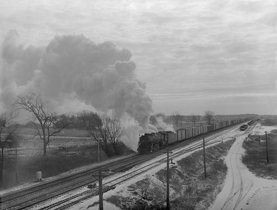 2018.15.N68F.4969--ed wilkommen 3x4 neg--CMStP&P--steam locomotive 4-8-4 S2 204 on freight extra near Lake Tower action--Lake WI--1950 0200