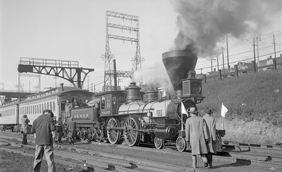 2018.15.N68F.4963--ed wilkommen 116 neg--CMStP&P--steam locomotive 4-4-0 1 on Centennial Train at shops--Milwaukee WI--1950 1120