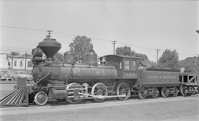 2018.15.N76.6008--ed wilkommen 116 neg--DM&IR--steam locomotive 2-6-0 3 on display--Two Harbors MN--1955 0810