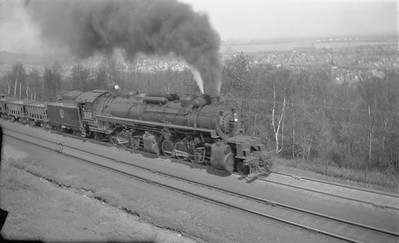 2018.15.N76.6016--ed wilkommen 116 neg--DM&IR--steam locomotive 2-8-8-2 M 206 on loaded ore freight train action--near Duluth MN--1947 0531