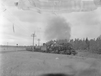 2018.15.N76.6020--ed wilkommen 3x4 neg--DM&IR--steam locomotive 2-8-8-2 M2S 211 on loaded ore freight train action--near Iron Jct MN--no date