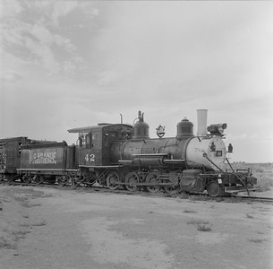 2018.15.N49K.5935--ed wilkommen 120 neg--RGS--steam locomotive 2-8-0 42 on display--Alamosa CO--no date
