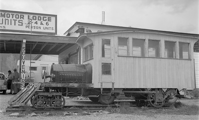 2018.15.N49K.5944--ed wilkommen 116 neg--Silverton RR--motorcar on display--Silverton CO--no date