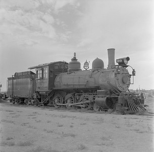 2018.15.N49K.5936--ed wilkommen 120 neg--RGS--steam locomotive 4-6-0 20 on display--Alamosa CO--no date