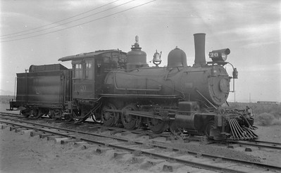 2018.15.N49K.5940--ed wilkommen 116 neg--RGS--steam locomotive 4-6-0 20 on display--Alamosa CO--no date