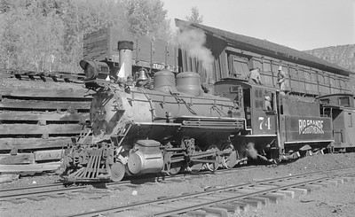 2018.15.N49K.5943--ed wilkommen 116 neg--RGS--steam locomotive 2-8-0 74 taking coal at coal dock--Vance Jct CO--1951 0902