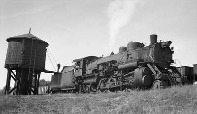 2018.15.N64.2555G--ed wilkommen 116 neg--Bevier & Southern--steam locomotive 2-8-2 4943 (leased from CB&Q) taking water--Bevier MO--no date