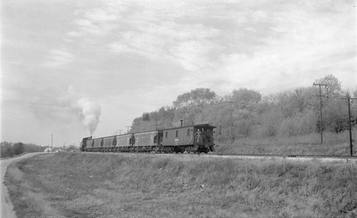 2018 15 N64 2611--ed wilkommen 116 neg--DRI&NW--steam locomotive 0-6-0 51 on work train action--near Princeton IA--1953 1031