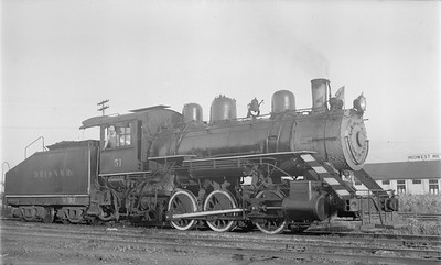 2018 15 N64 2607--ed wilkommen 116 neg--DRI&NW--steam locomotive 0-6-0 51--Davenport IA--1953 0900