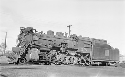 2018.15.N64.2667--ed wilkommen 116 neg--Duluth Winnipeg & Pacific--steam locomotive 2-8-0 2477--Virginia MN--1956 1008