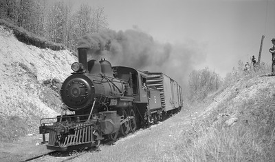 2018.15.N64C.7869--ed wilkommen 116 neg--EJ&S--steam locomotive 2-6-0 6 on mixed train action--location unknown--no date