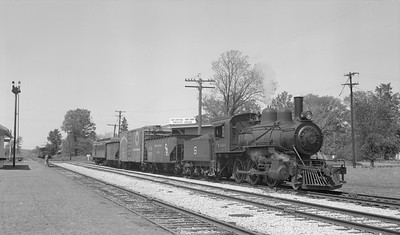 2018.15.N64C.7866--ed wilkommen 116 neg--EJ&S--steam locomotive 2-6-0 6 with freight cars at C&O interchange--Bellaire MI--no date
