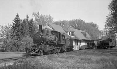 2018.15.N64C.7865--ed wilkommen 116 neg--EJ&S--steam locomotive 2-6-0 6 at depot scene--East Jordan MI--no date